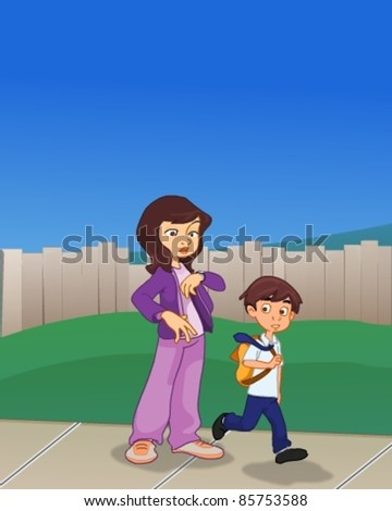Leaving for School - stock vector