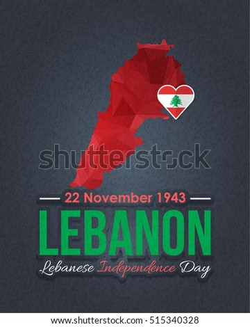 Lebanese Independence Day Low Poly Style Map and Lebanon Flag. Vector Elements National Concept Greeting Card, Poster or Web Banner Design