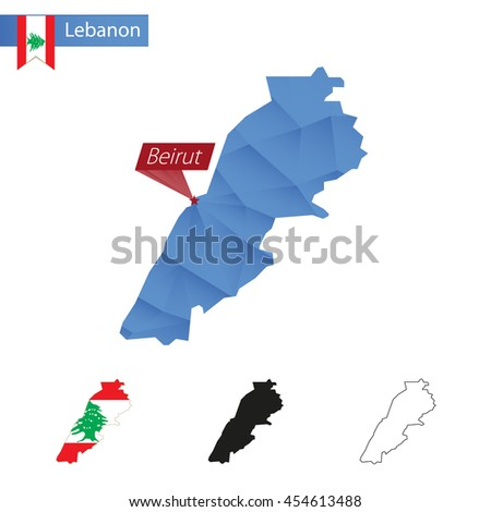 Lebanon blue Low Poly map with capital Beirut, versions with flag, black and outline. Vector Illustration. - stock vector