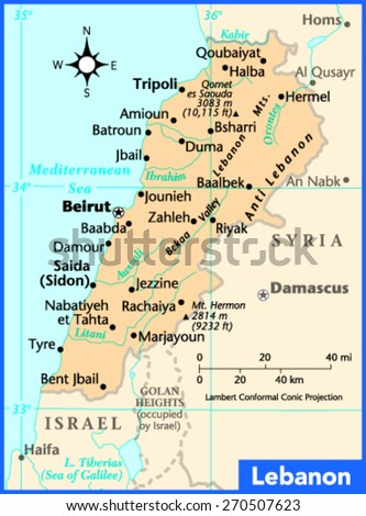 Lebanon Country Map Stock Vector Shutterstock - Lebanon map