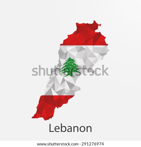 Lebanon flag map in geometric,mosaic polygonal style.Abstract tessellation,background. Vector illustration EPS10 - stock vector