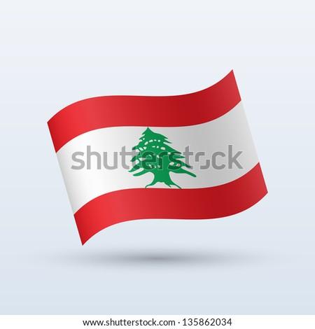 Lebanon flag waving form on gray background. Vector illustration. - stock vector