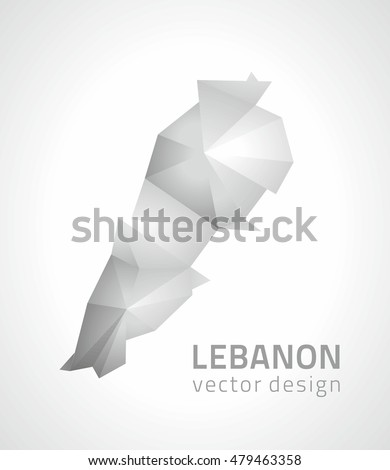 Lebanon  grey and silver mosaic triangle vector map