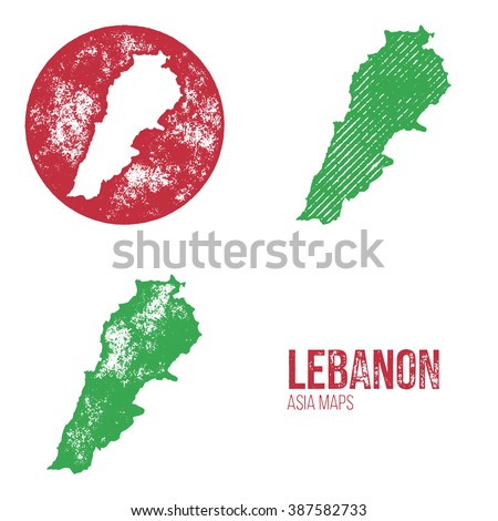 Lebanon Grunge Retro Maps - Asia - Three silhouettes Lebanon maps with different unique letterpress vector textures - Infographic and geography resource