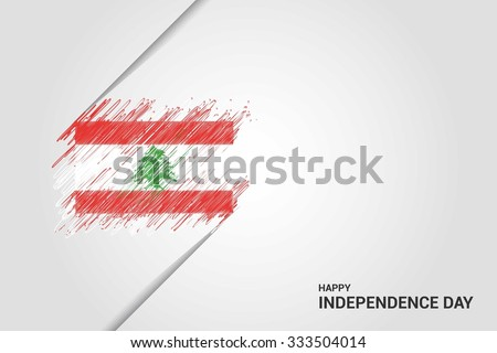 Lebanon Happy independence day scribble flag. Hand drawn Country flag on Gray crumbled paper. vintage background wallpaper vector illustration. - stock vector