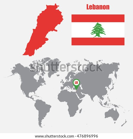 Lebanon map on world map flag stock vector 476896996 shutterstock lebanon map on a world map with flag and map pointer vector illustration gumiabroncs