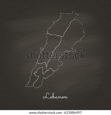 Lebanon region map: hand drawn with white chalk on school blackboard texture. Detailed map of Lebanon regions. Vector illustration.