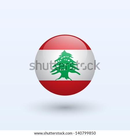 Lebanon round flag. Vector illustration. - stock vector