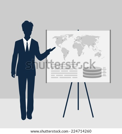 Lector stand near board presentation showing speak project brief - vector - stock vector