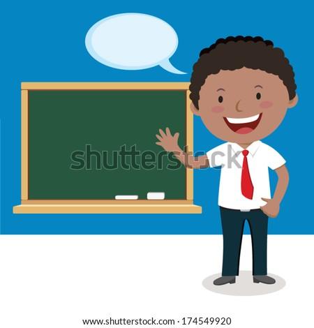 Lecturer. Vector illustration of a teacher or a businessman having presentation. - stock vector