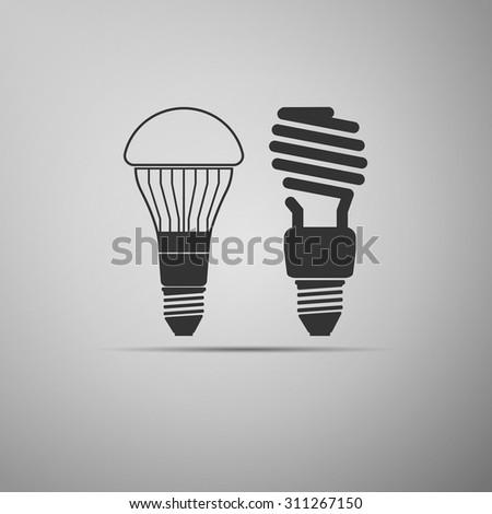 LED bulbs and fluorescent light bulb icon. Vector illustration - stock vector