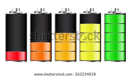 LED charging batteries. Vector. - stock vector