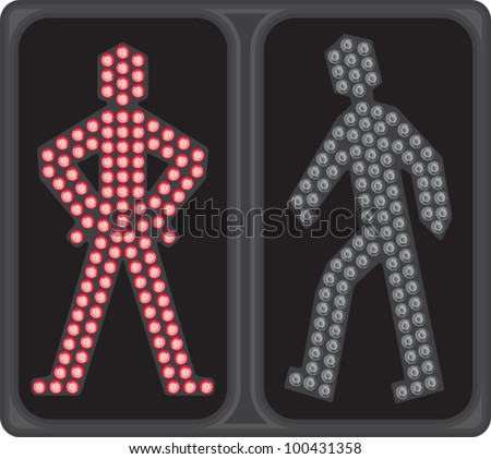 LED crosswalk signal - stock vector