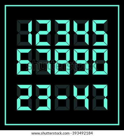LED DISPLAY.  Electronic numbers. DIGITAL BOARD - stock vector