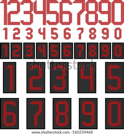 LED display numbers - stock vector