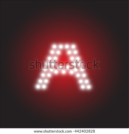 led light alphabet capital letter a vector illustration