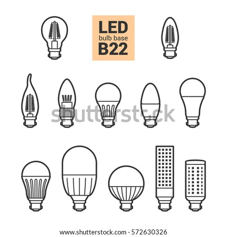 LED Light Bulbs With B22 Base Vector Outline Icon Set On White Background