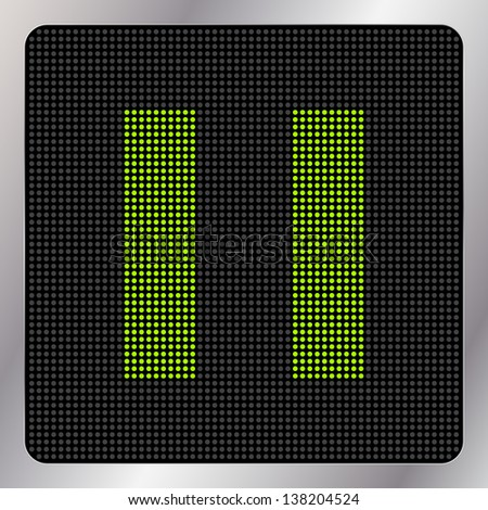 Led multimedia pause icon / button - graphic design element