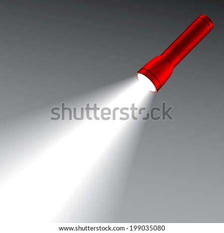 LED red flashlight with a light beam. Lighting concept  - stock vector