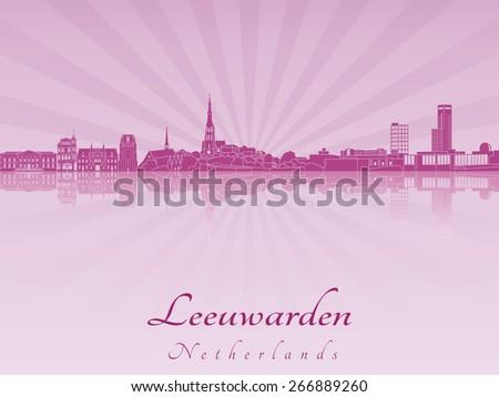 Leeuwarden skyline in purple radiant orchid in editable vector file - stock vector
