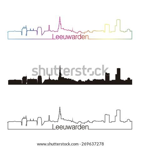 Leeuwarden skyline linear style with rainbow in editable vector file - stock vector