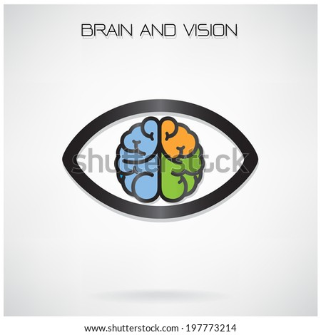 left and right brain and eye symbol ,design for poster flyer cover brochure,vision concept,education concept ,business idea .vector illustration - stock vector
