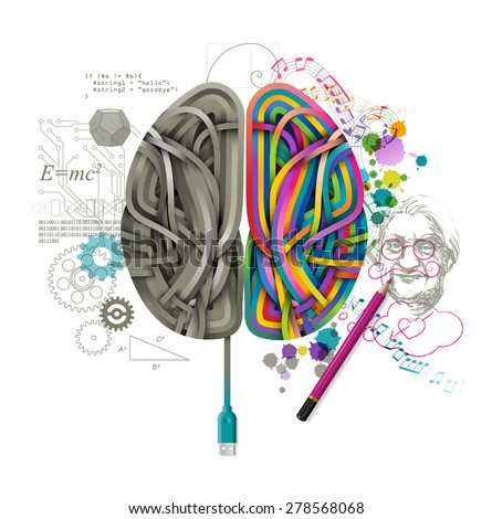 Left and right brain, concept of consciousness, eps10 vector - stock vector