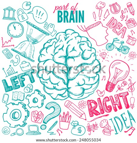 Left and right brain functions, hand drawn illustration - stock vector