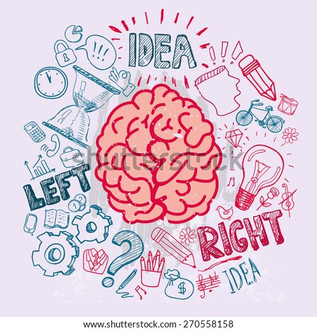 Left and right brain functions, vector sketchy illustration - stock vector