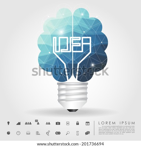 left and right brain light bulb polygon with business icon vector - stock vector