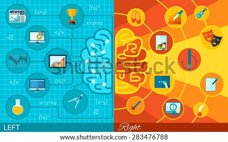 Left and right half brain difference math logic or art and creativity function in varied colors and icons flat paper - stock vector