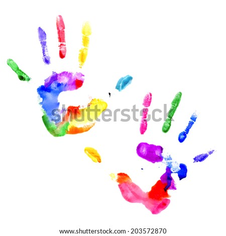 Left and right handprints painted in different colors on white background - stock vector