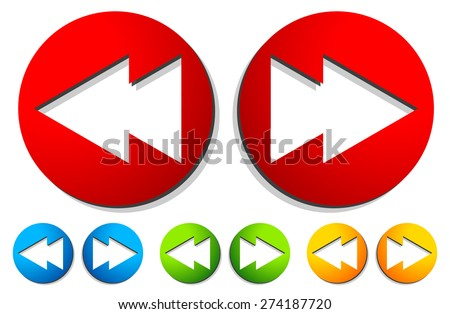 Left and right, next, previous arrow buttons, arrow icons. Fast forward, backward navigation buttons. - stock vector
