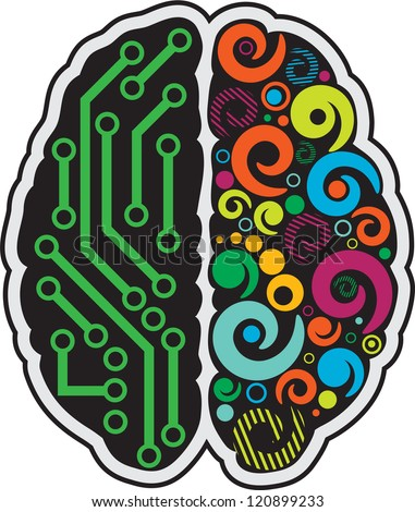 Left and right part of human brain