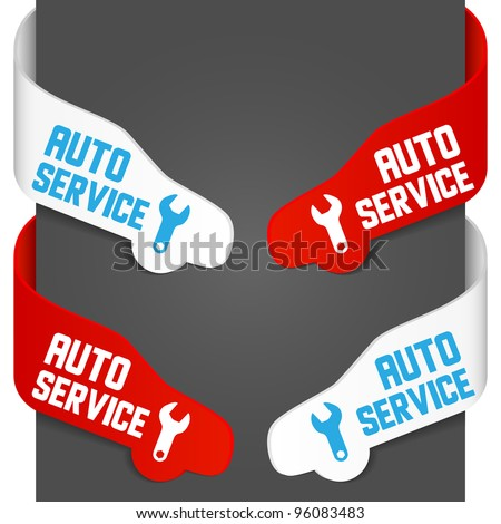 Left and right side signs - Auto service. Vector illustration.