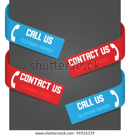 Left and right side signs - Call Us and Contact Us. Vector illustration.
