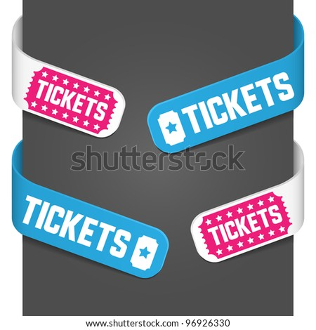 Left and right side signs - Tickets. Vector illustration. - stock vector