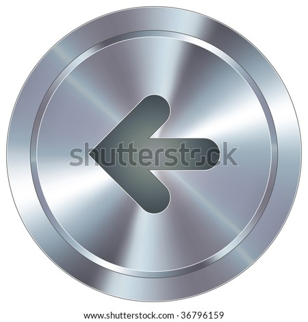 Left arrow direction icon on round stainless steel modern industrial button suitable for use as a website accent, on promotional materials, or in advertisements.