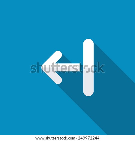 Left arrow from one vertical line icon. Modern design flat style icon with long shadow effect - stock vector