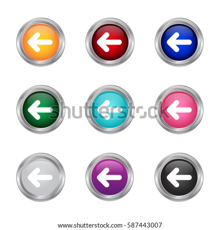 left arrow glossy buttons, vector illustration
