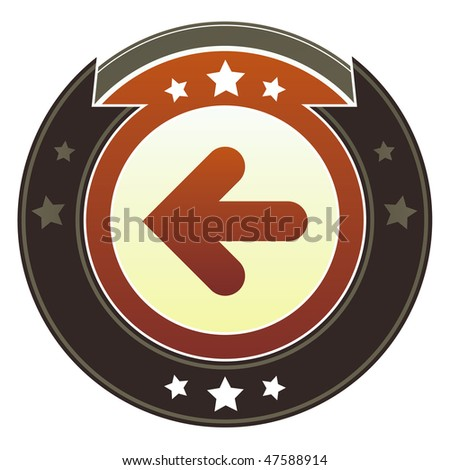 Left directional arrow icon on round red and brown imperial vector button with star accents suitable for use on website, in print and promotional materials, and for advertising.