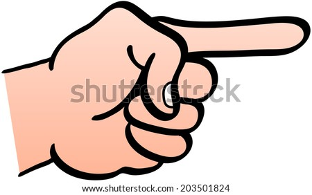 Left hand showing a clenched fist with the index finger extended and pointing horizontally - stock vector
