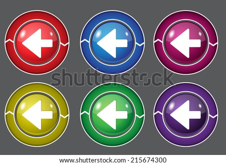 Left Key Circular Vector Colorful Web Icon Set Button
