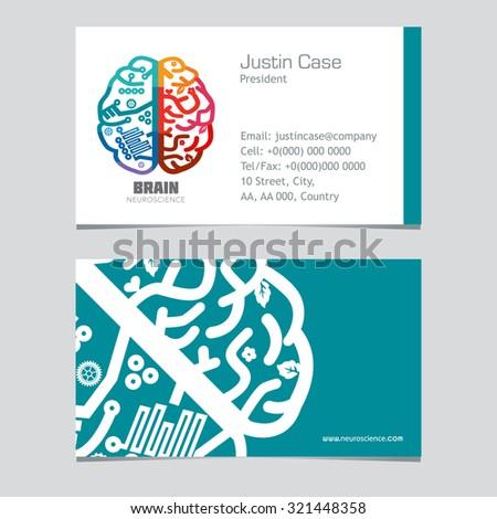 Left & Right Human Brain hemispheres vector icon & Business card template. Brain sign design template for Neuroscience & Medicine Creative & analytical brain function division. Vector illustration. - stock vector