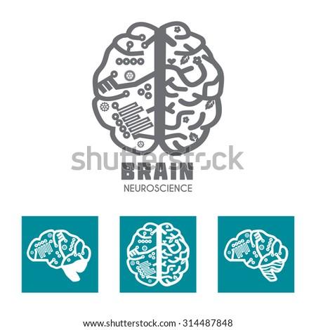 Left & Right Human Brain hemispheres vector icon. Human brain in sagittal view. Brain sign design template for Neuroscience & Medicine. Creative & analytical brain division. Vector illustration. - stock vector