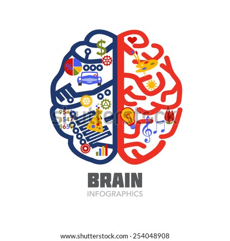 Left & Right Human Brain hemispheres vector illustration. Creative & analytical brain parts. Flat icons illustrating brain functions. Editable design for educational poster or scientific presentation. - stock vector
