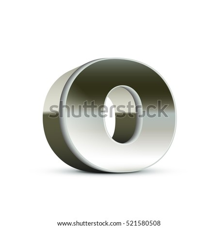 left tilt steel letter O, 3D illustration graphic isolated on white background
