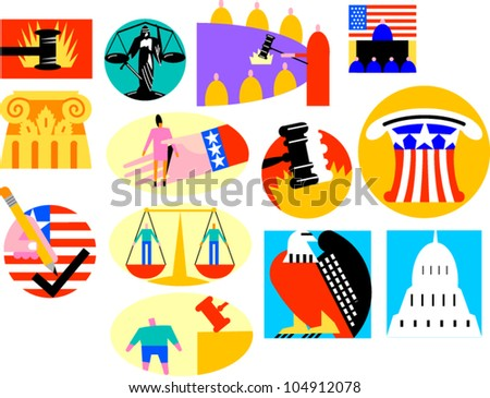 Legal and government icons and illustrations