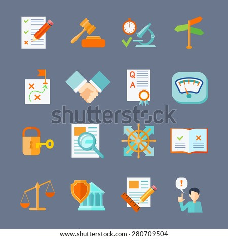 Legal compliance deal protection and copyright regulation flat icons set isolated vector illustration - stock vector