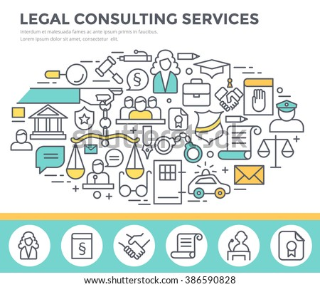 Legal consulting services concept illustration, thin line flat design - stock vector
